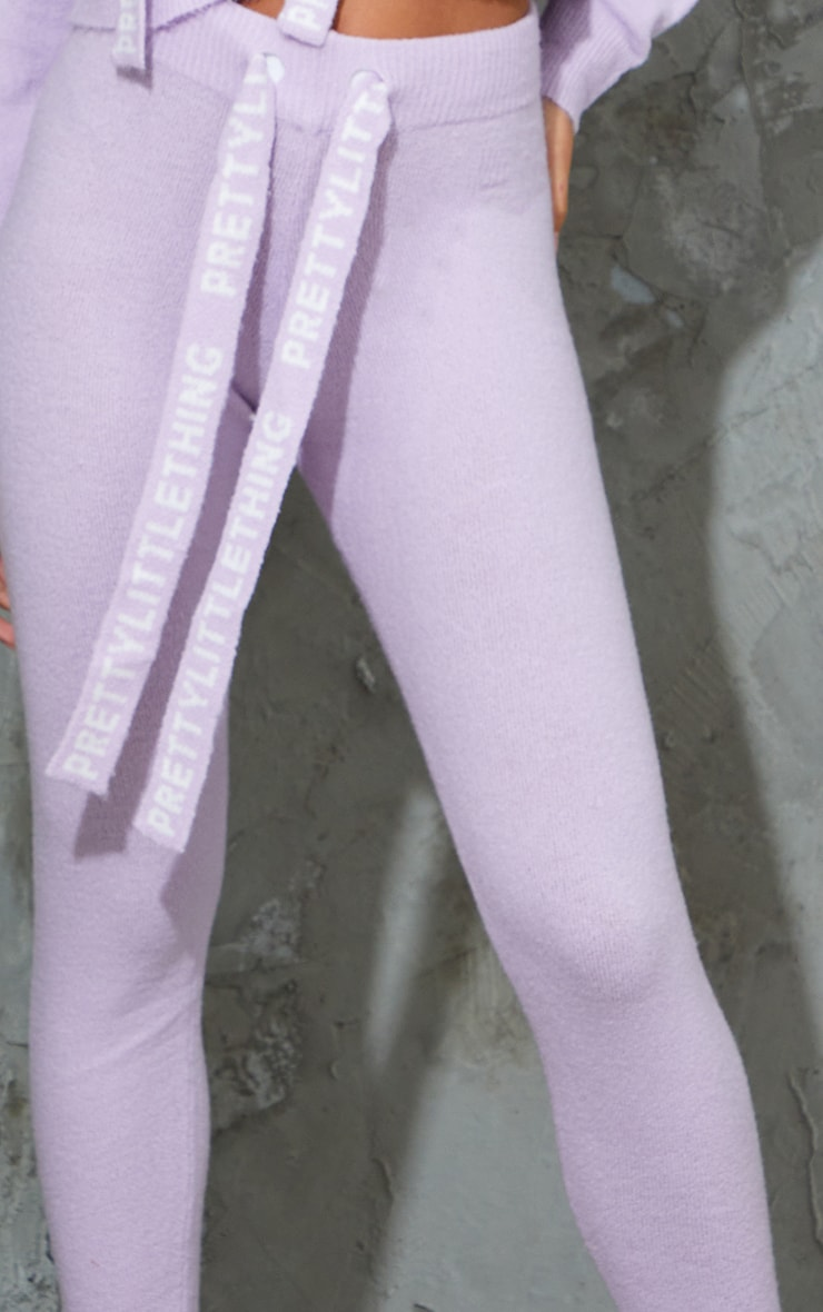 PRETTYLITTLETHING Lilac Soft Knitted Sweat Pants 4
