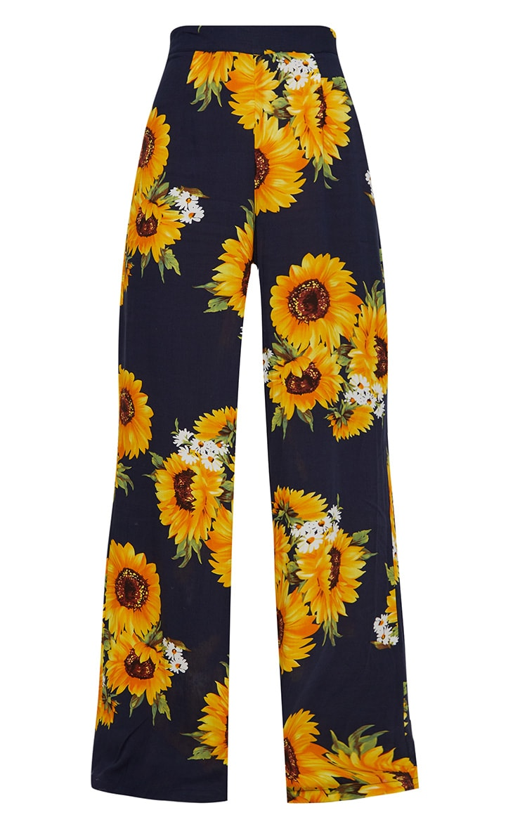 Petite Navy Sunflower Print Wide Leg Trousers 3