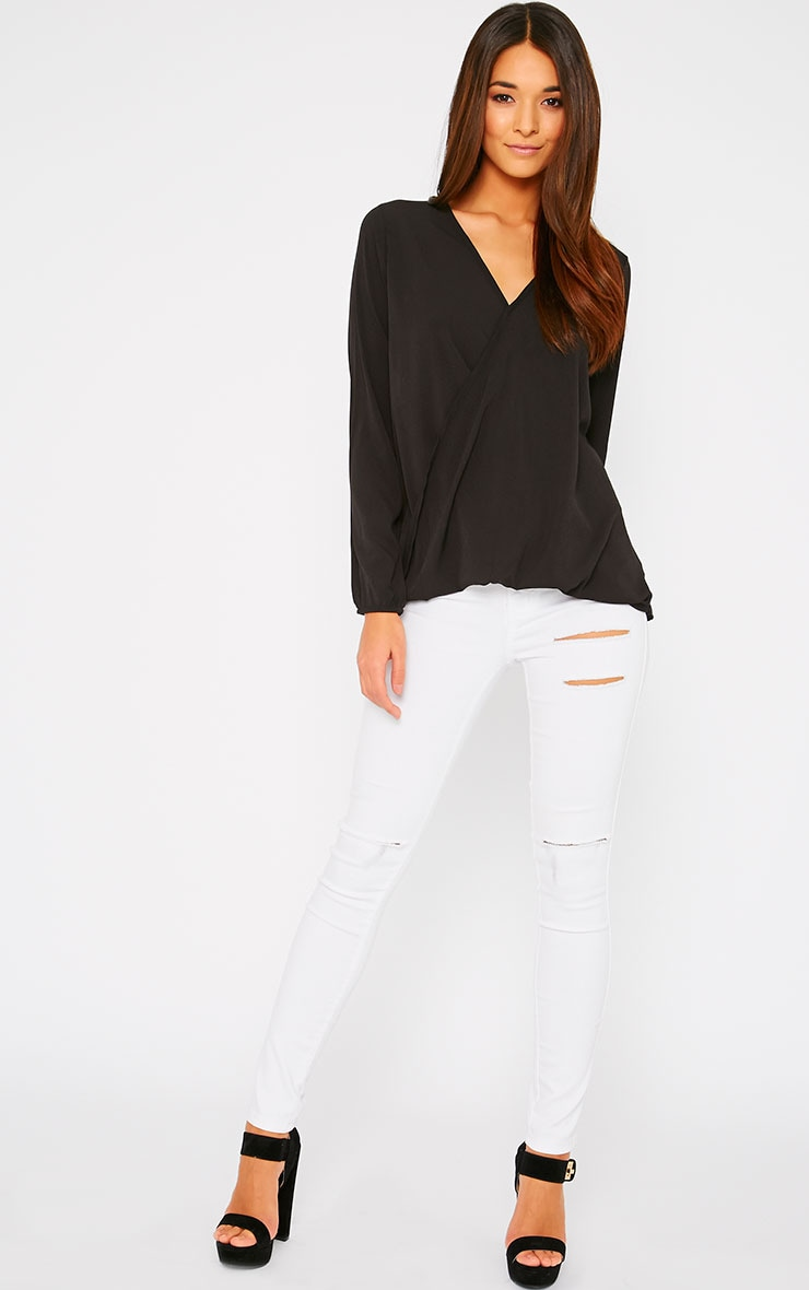 Julie Black Wrap Front V Back Top 5