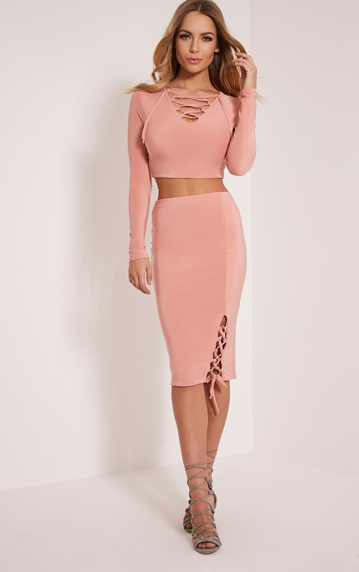Ameria Blush Lace Up Front Crop Top 5