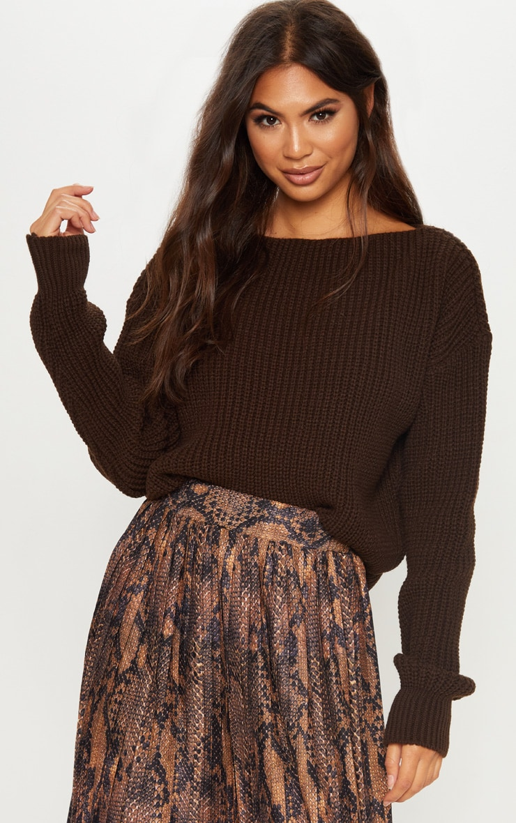 Brown Slash Neck Crop Knitted Jumper  1