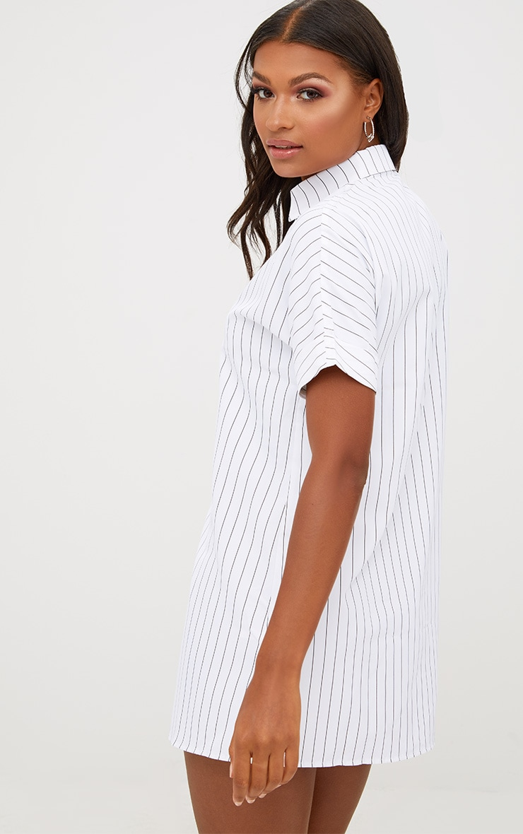 White Striped Short Sleeve Shirt Dress 2