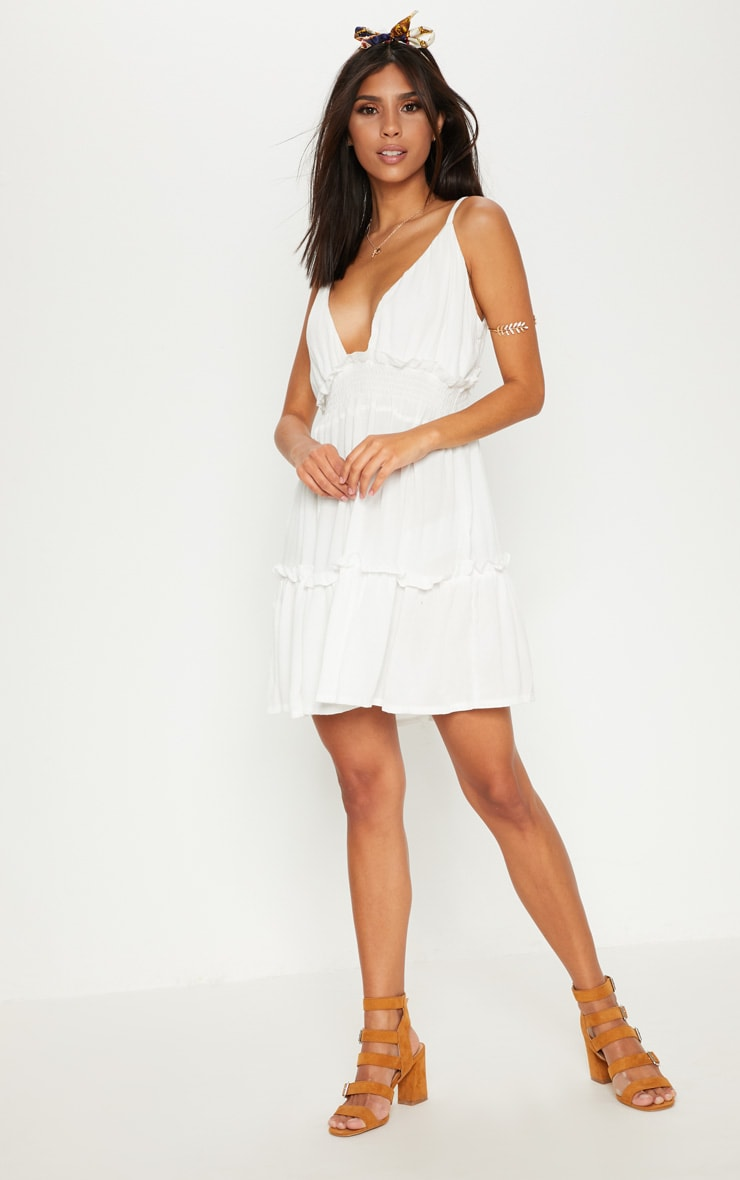 White Cheesecloth Ruched Detail Plunge Strappy Swing Dress 1