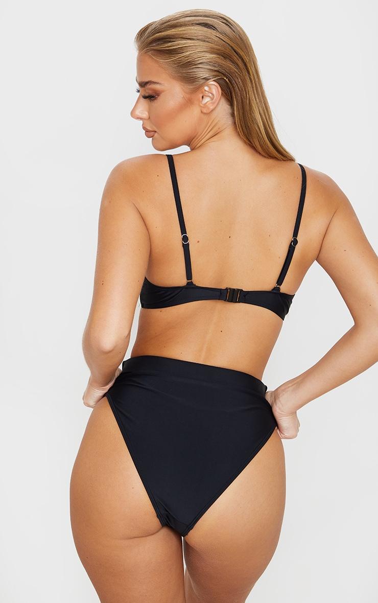 Bas de bikini taille haute ceinturée noir  4
