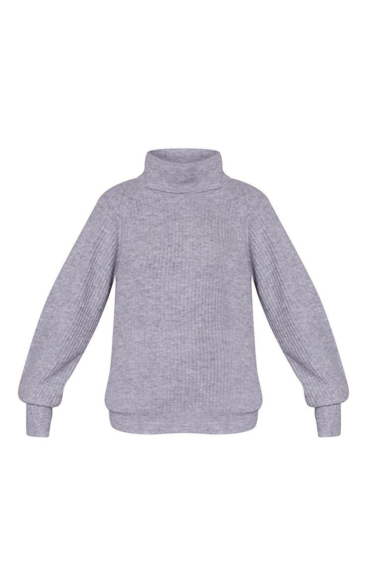 Grey Marl Roll Neck Oversized Longline Sweater 5