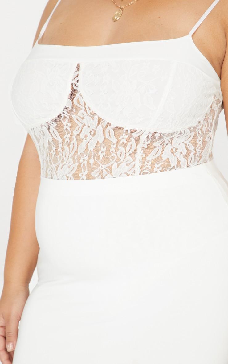 Plus White Second Skin Lace Square Neck Thong Bodysuit  6