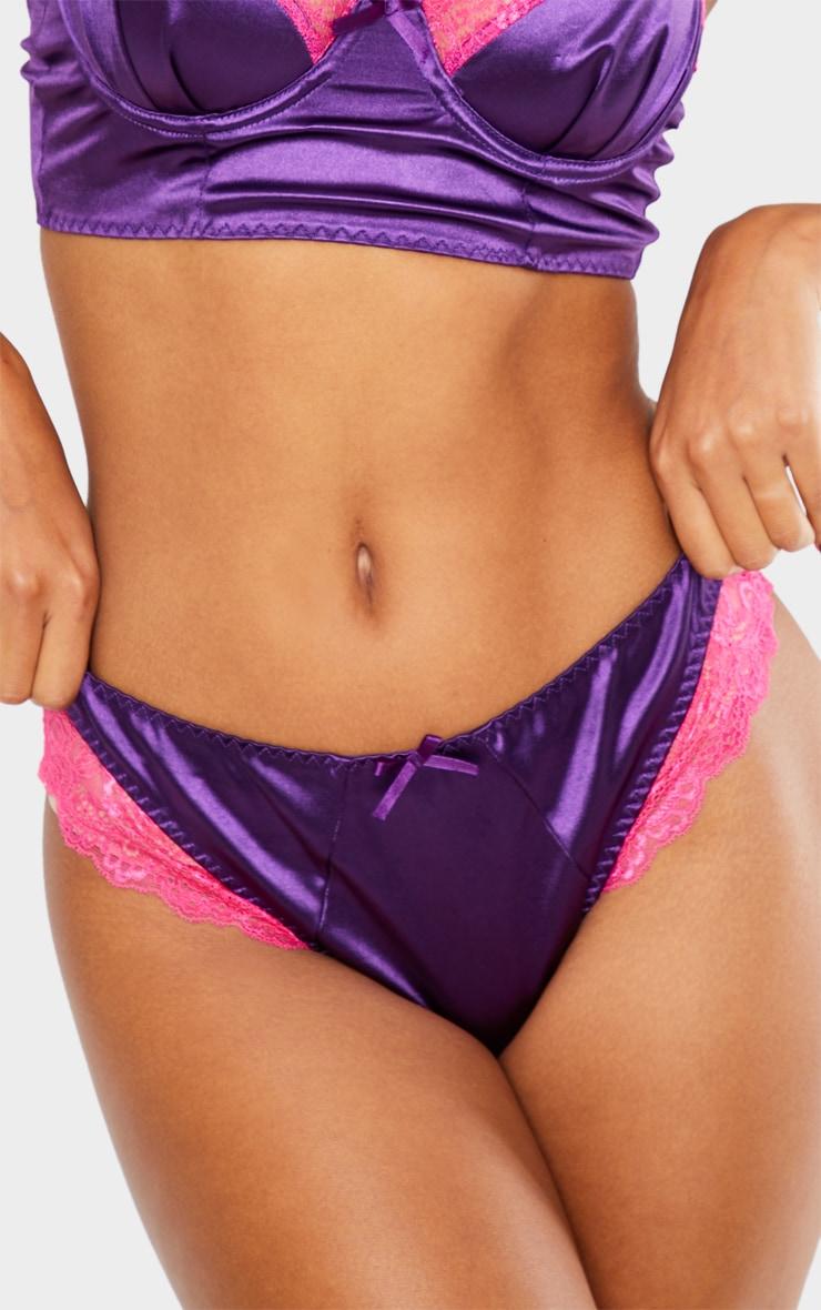 Purple Lace Trim Satin Thong 5