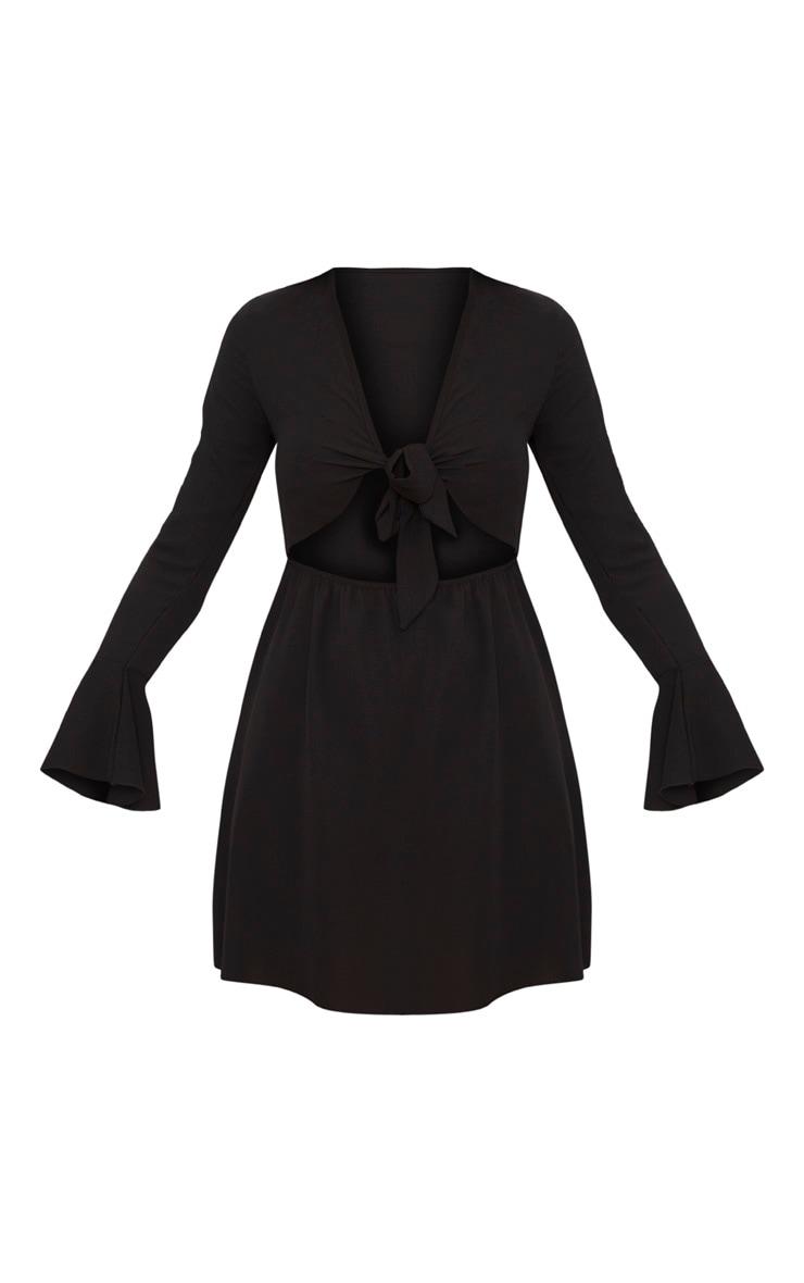 Black Flute Sleeve Tie Front Skater Dress 3