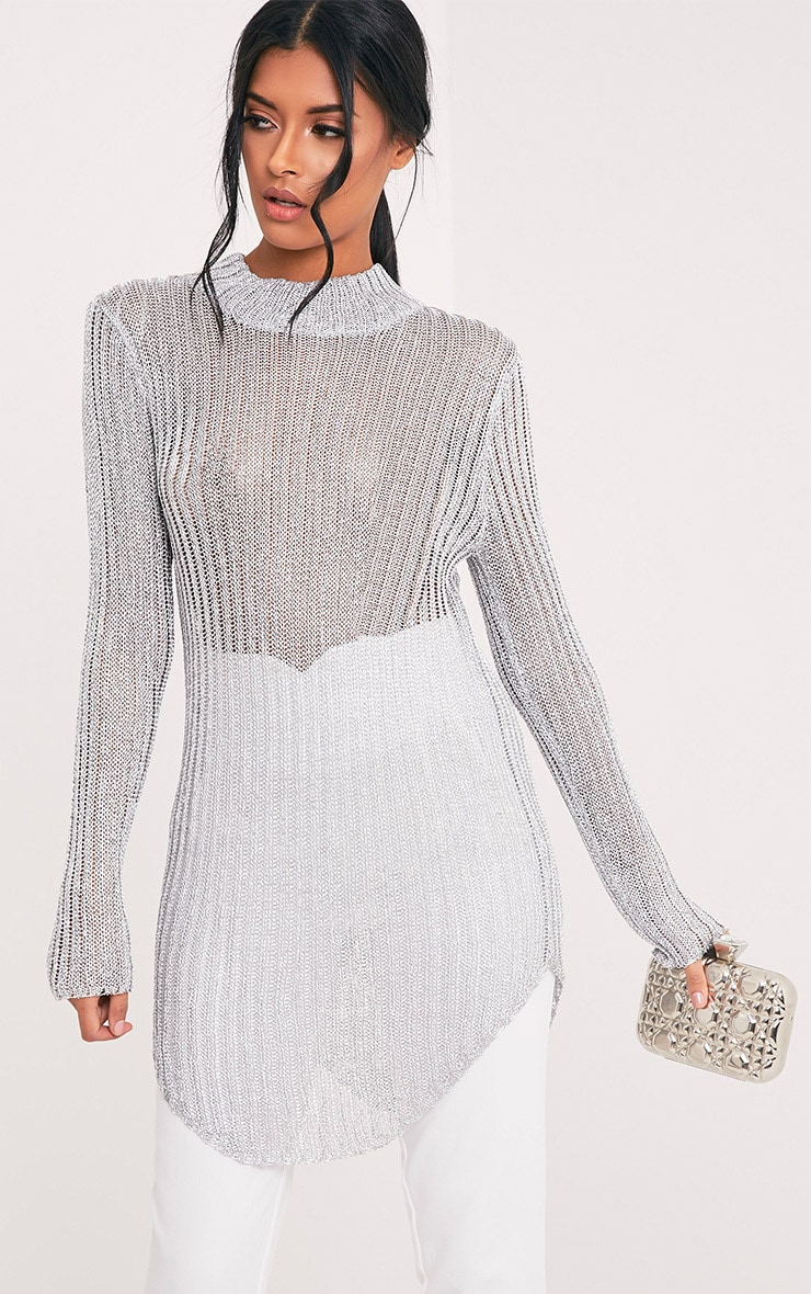 Haisley Metallic Silver Knitted Curved Hem Sheer High Neck Jumper 1