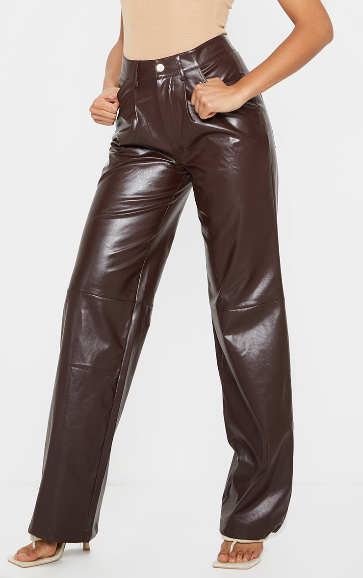 Chocolate Faux Leather Pleat Detail Wide Leg Trousers 2