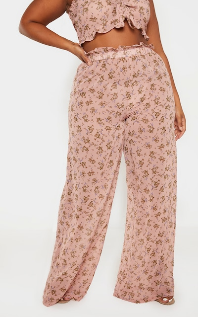 Plus Dusty Pink Sheer Chiffon Floral Ruched Waist Wide Leg Trouser