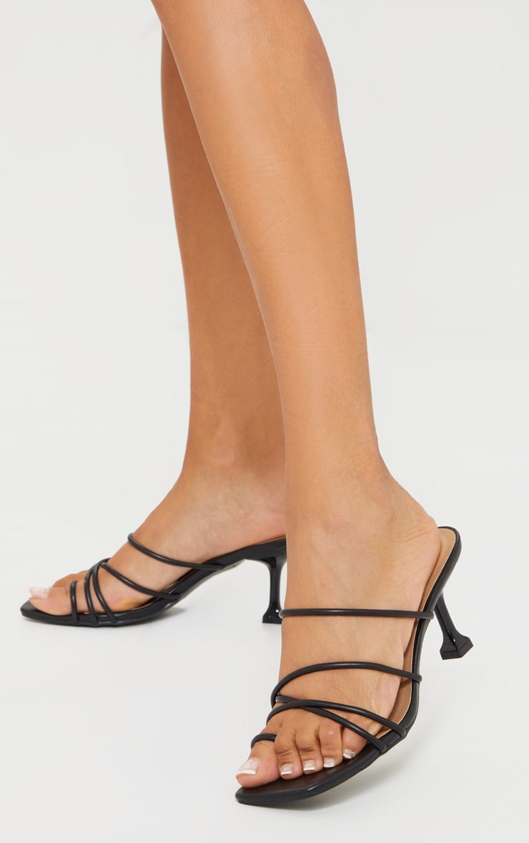 Black WIDE FIT Toe Loop Strappy Low Heel Mules 1