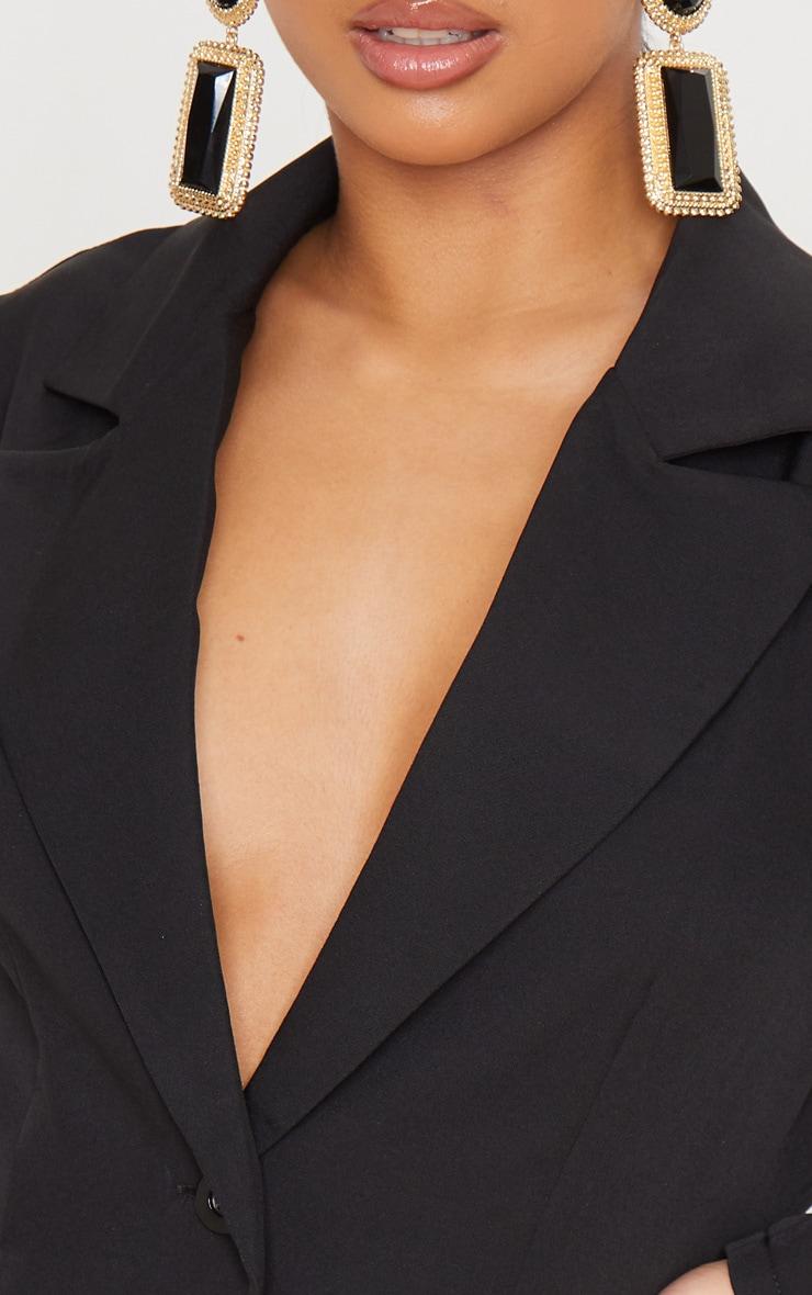 Petite Black Puff Sleeve Fitted Blazer Dress 6