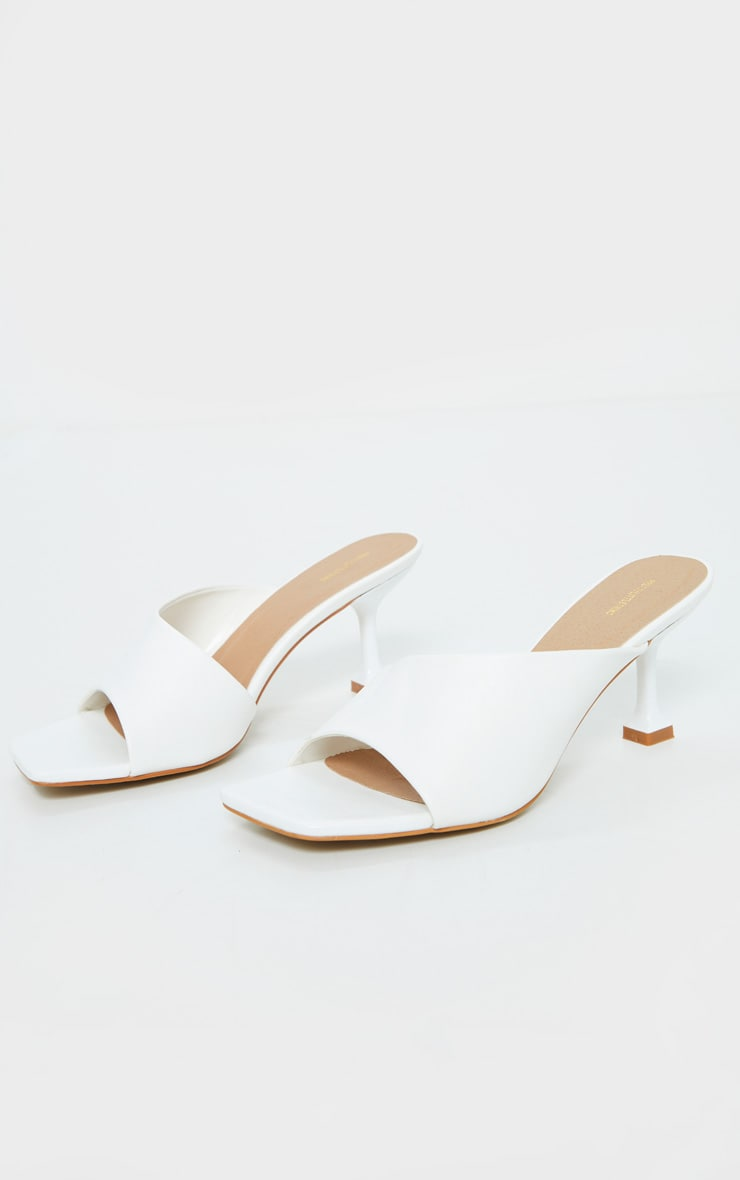 White Asymmetric Low Heel Mules 3