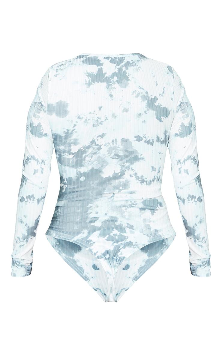 Sage Green Acid Wash Slinky Rib Long Sleeve Bodysuit 6