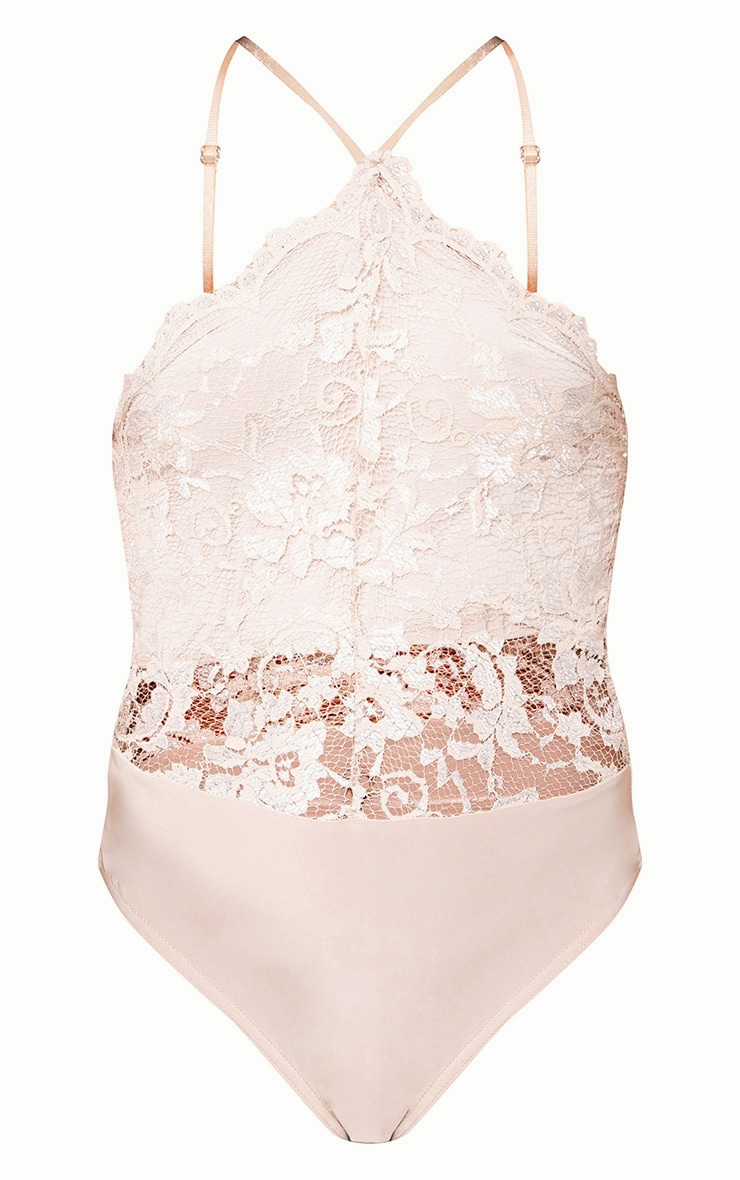 Nude Scallop Lace Thong Bodysuit 3