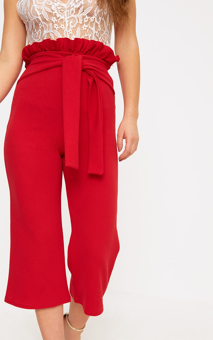 Petite Red Paperbag Waist Culottes  5