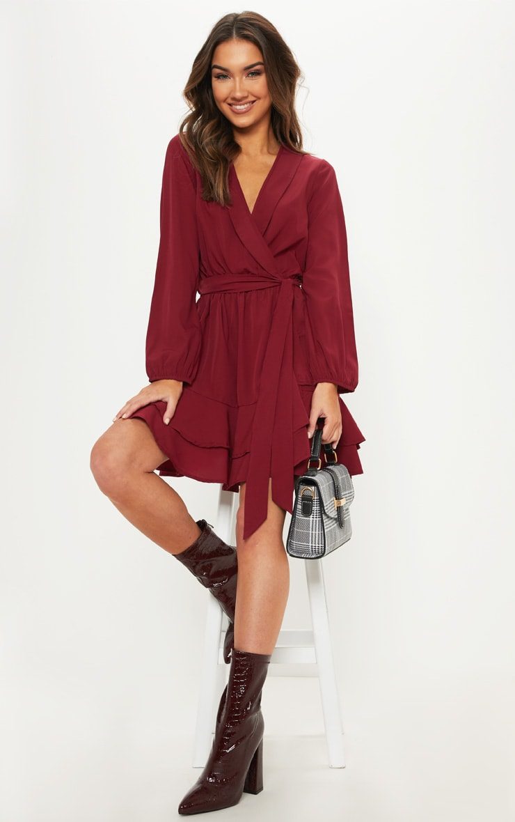 Burgundy Tie Waist Frill Hem Dress 1