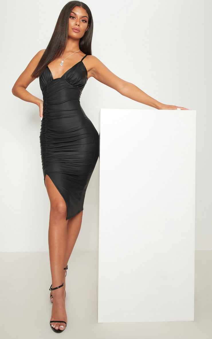 Black PU Ruched Midi Dress 1