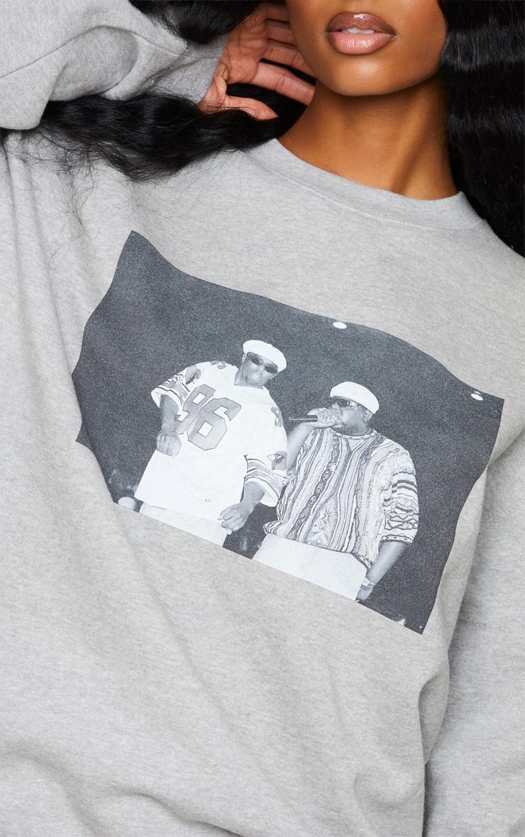 Grey Biggie 96 Print Oversized Sweater 4