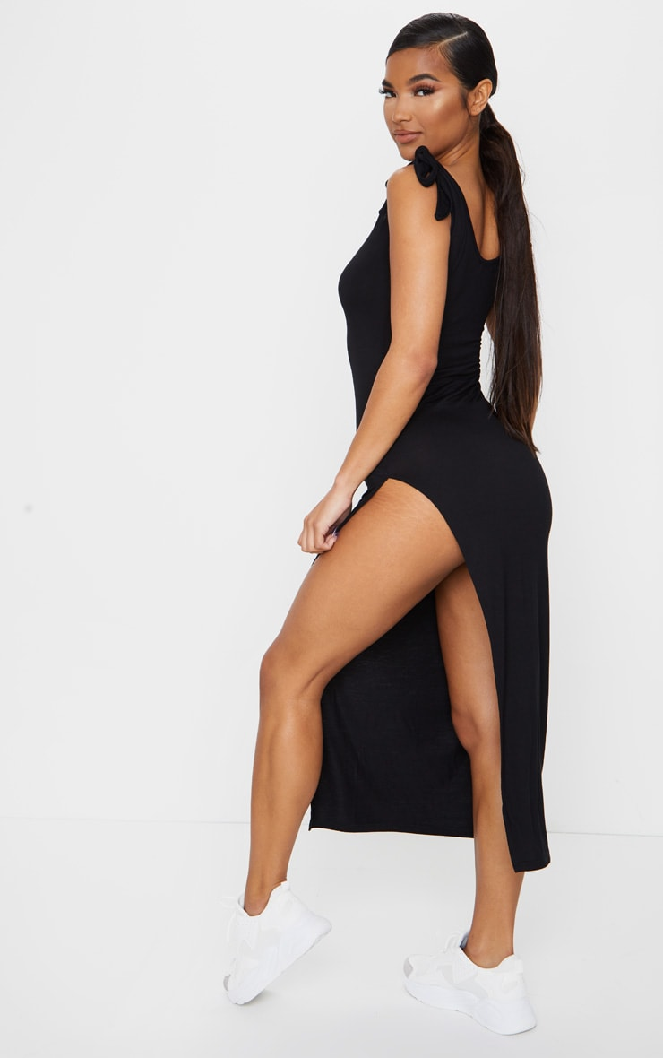 Black Tie Shoulder Scoop Neck Jersey Midi Dress 2