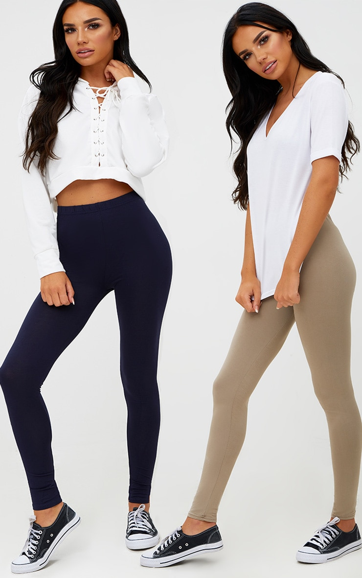 Basic Navy and Taupe Jersey Leggings 2 Pack