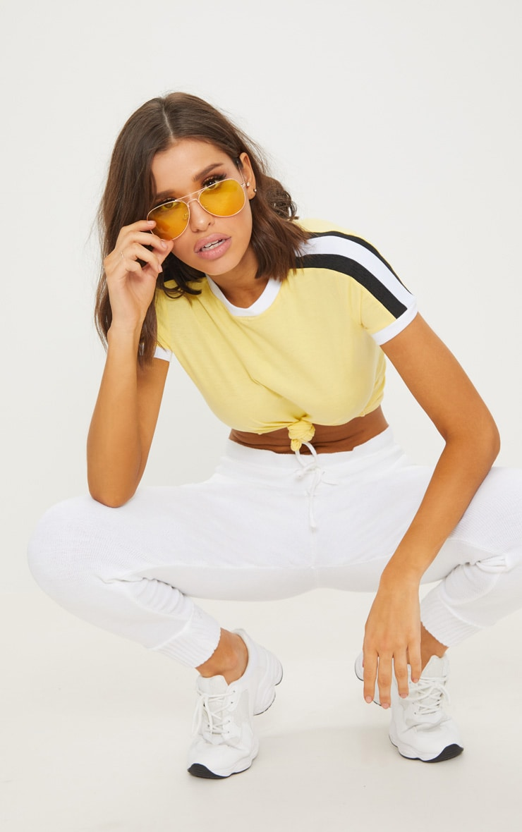 Yellow Triple Stripe Shoulder T Shirt  4