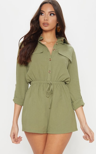 d2bd86e2a8c Khaki Cargo Pocket Playsuit