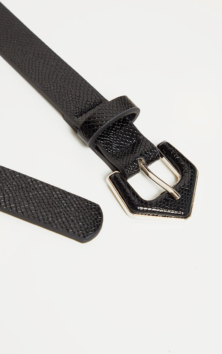 Black Snake Angled Buckle Jeans Belt 4