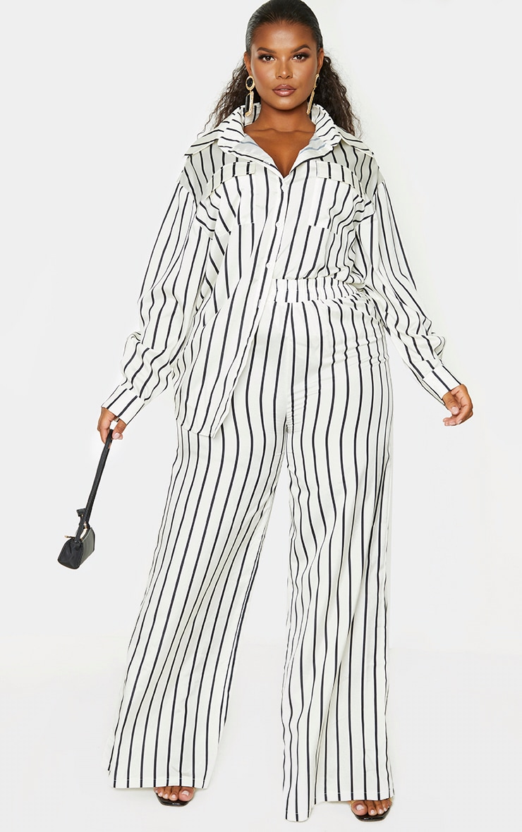 Plus Cream Stripe Print Oversized Shirt 4