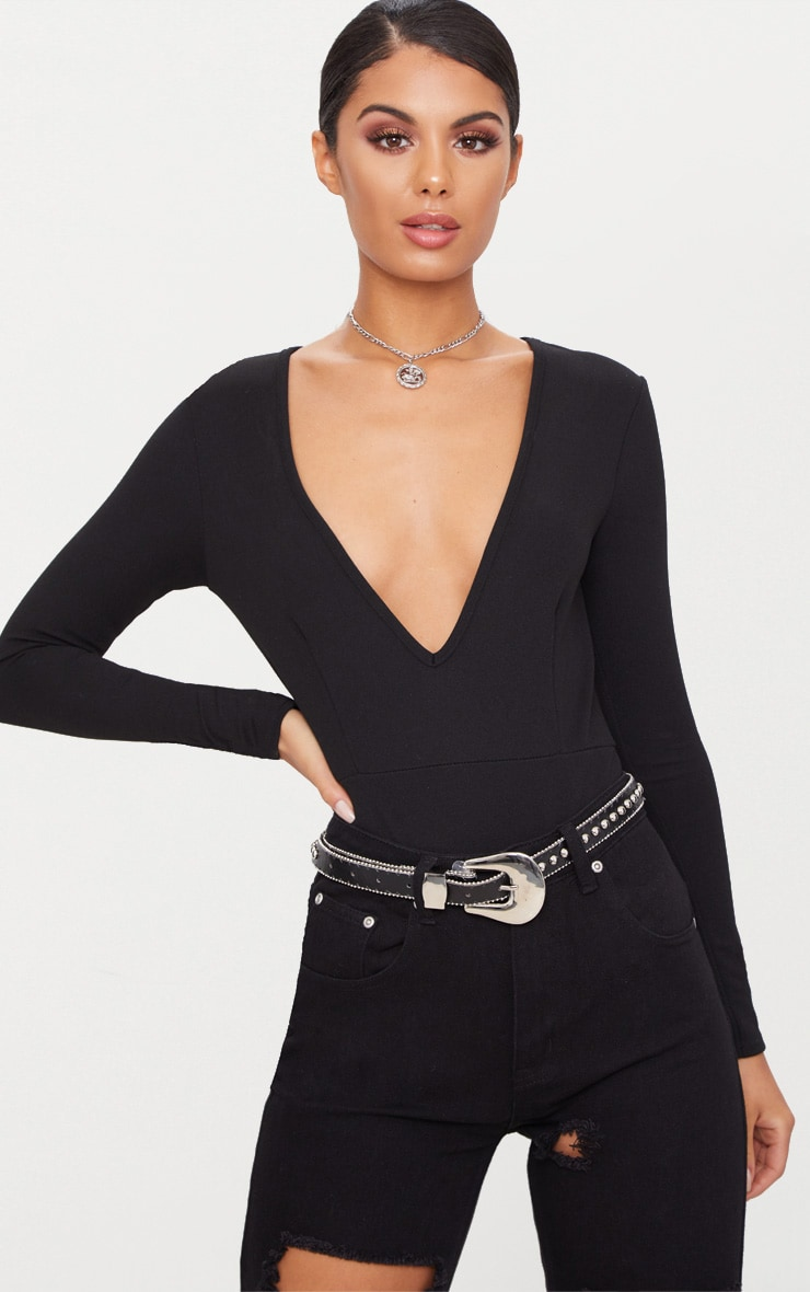 Black Crepe Plunge Long Sleeve Thong Bodysuit