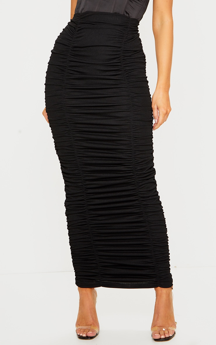Black Ruched Maxi Skirt 2