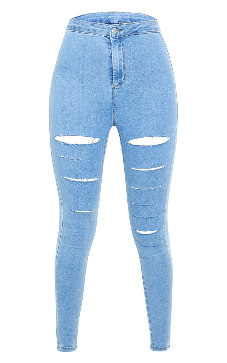 PRETTYLITTLETHING Tall Light Blue Rip Distressed Disco Skinny Jeans 5