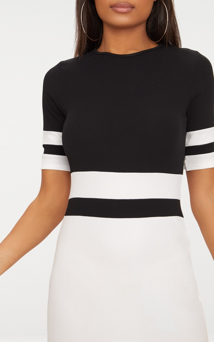 Monochrome Sports Stripe Bodycon Dress 5