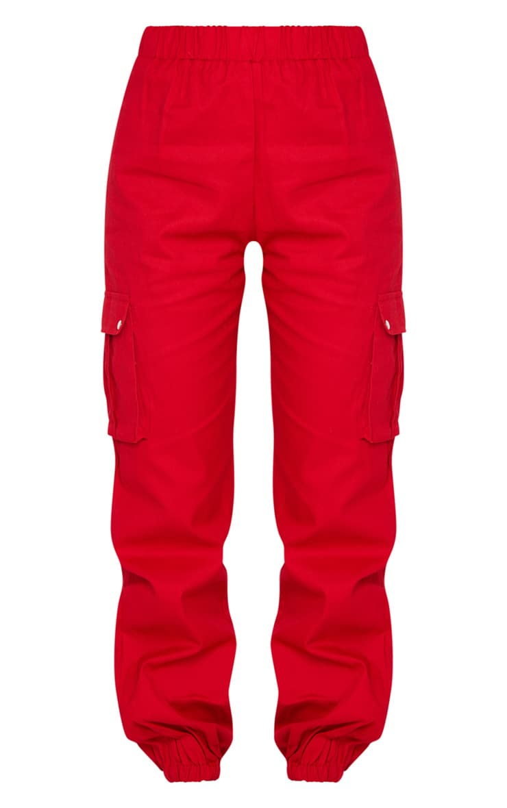 Red Pocket Detail Cargo Trousers 5