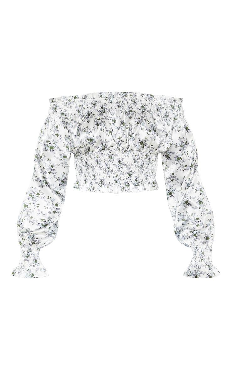 White Floral Printed Shirred Bardot Long Sleeve Crop Top 3
