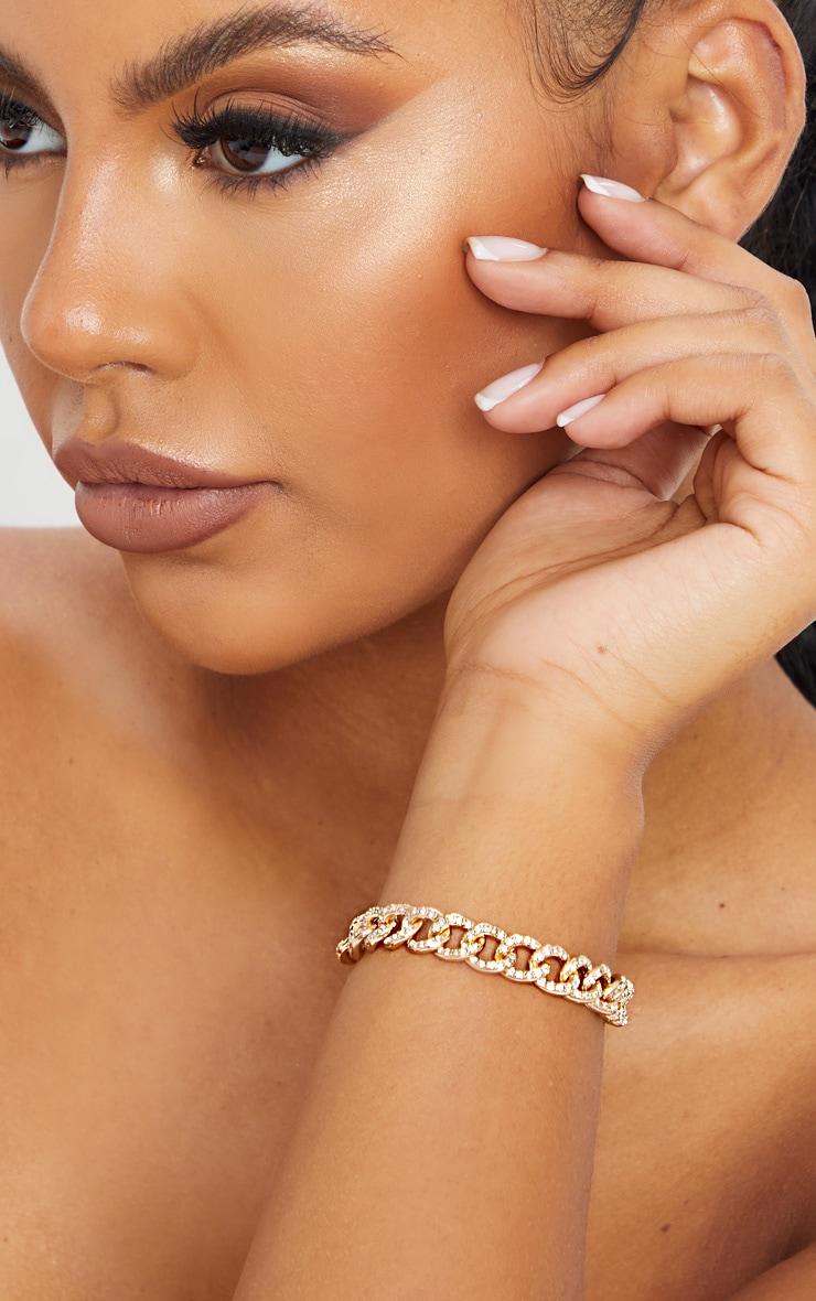 Gold Diamante Link Bracelet 2