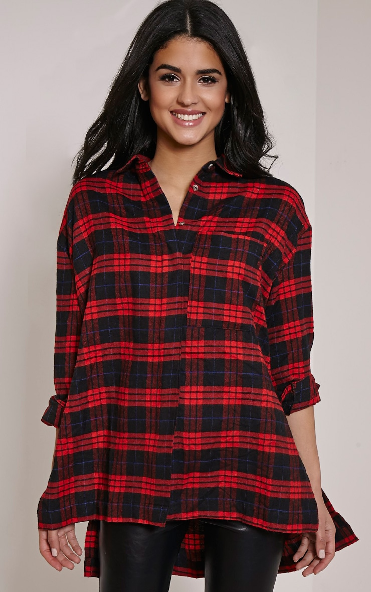 Alier Red Check Oversized Boyfriend Shirt 1