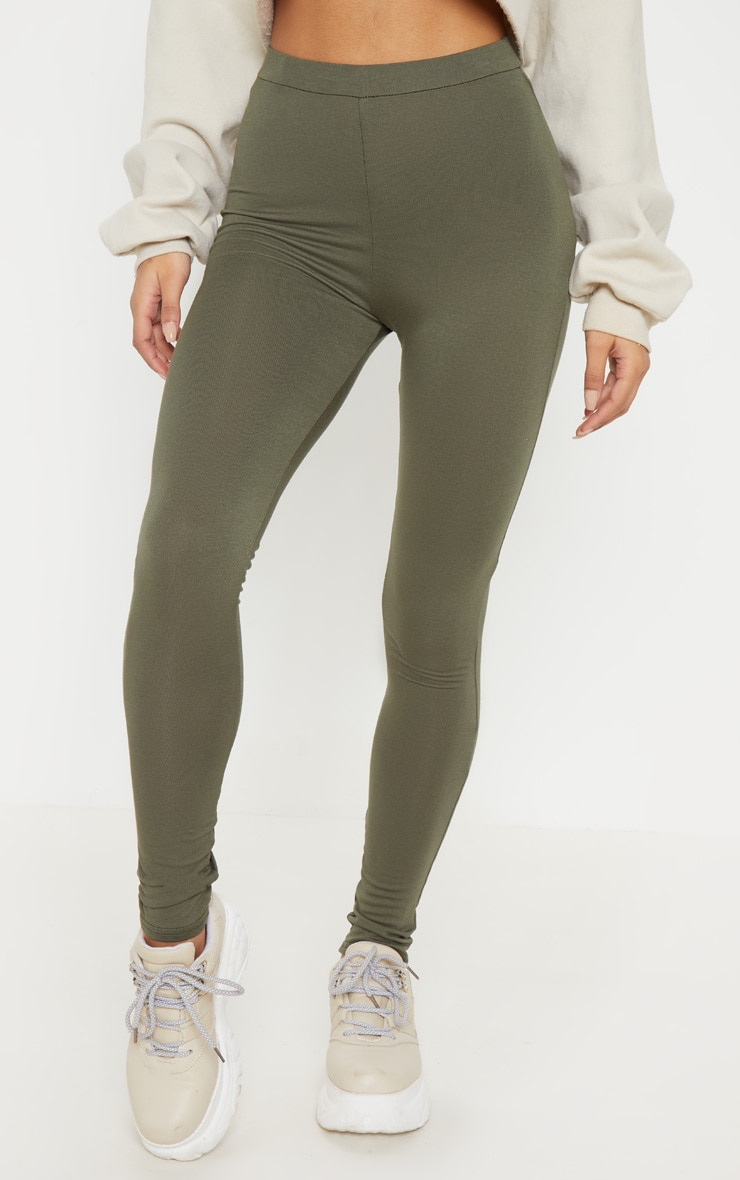 Khaki Ruched Back Jersey Legging 2