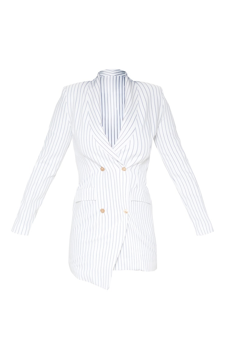 White Pinstripe Gold Button Blazer Dress 3