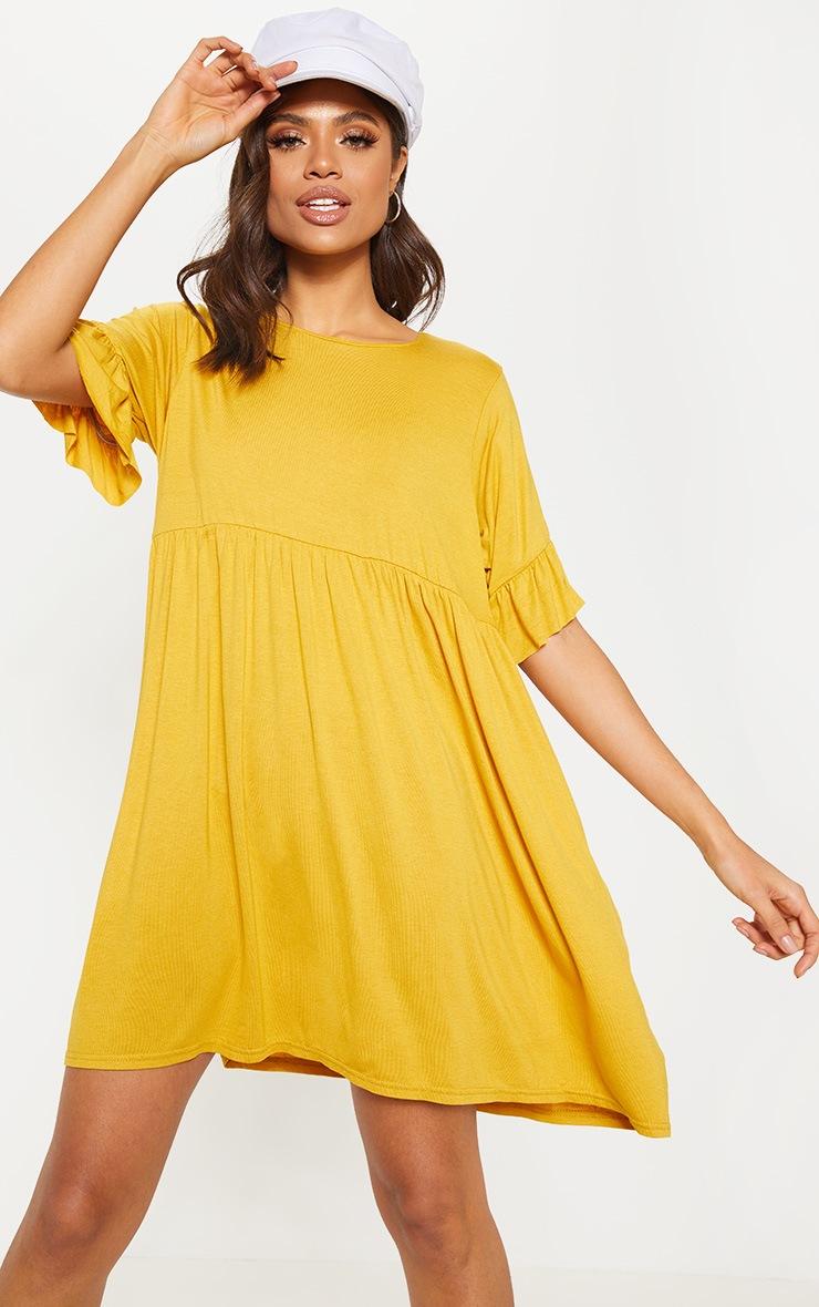 Mustard Short Sleeve Smock Dress 1