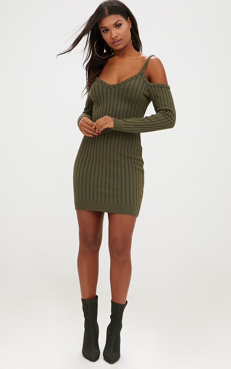 Khaki Cold Shoulder Knitted Mini Dress  4
