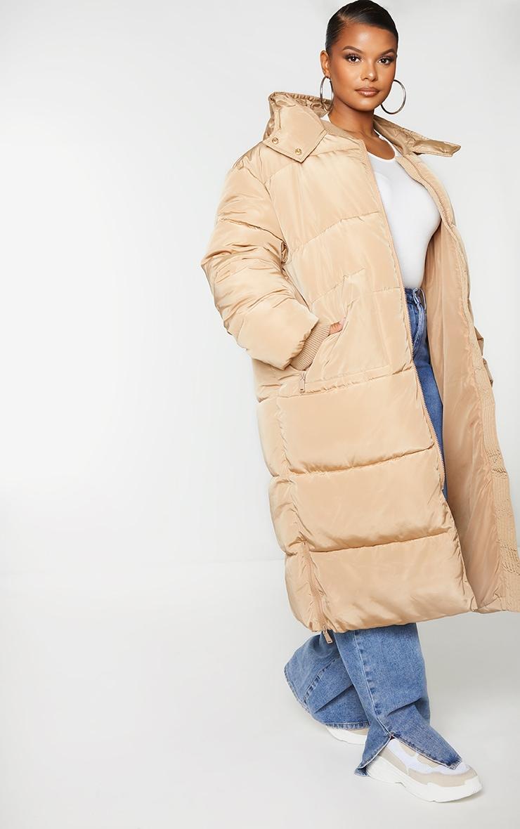 Plus Stone Maxi Hooded Puffer Jacket 3