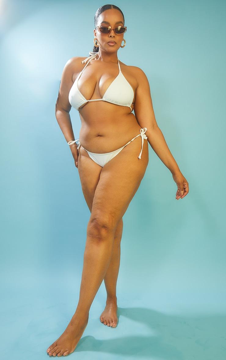Recycled Plus White Mix & Match Tie Side Bikini Bottoms 1