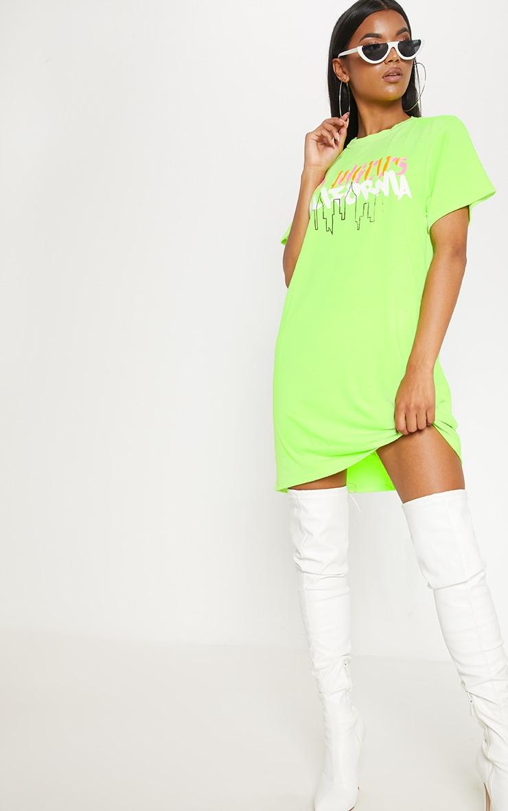 Neon Green LA Slogan Oversized T Shirt Dress 4