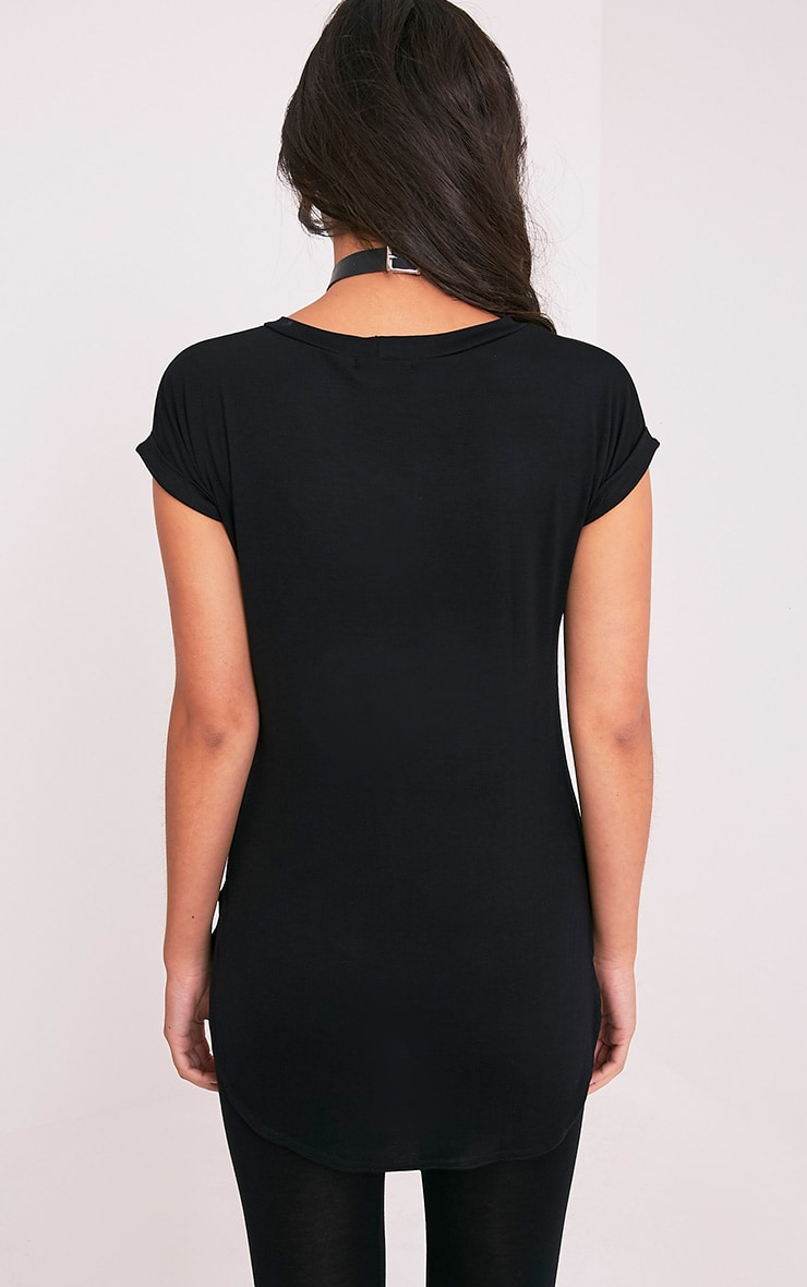 Skeleton Hands Print Black Oversized T Shirt 2