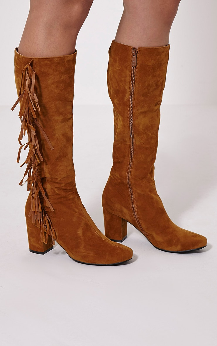 Shaia Tan Fringed Knee High Boots 1