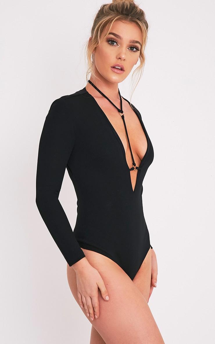 Livvie body-string harnais noir à manches longues 3
