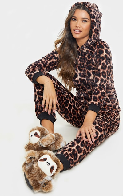 Brown Leopard Print Hooded Pj Set