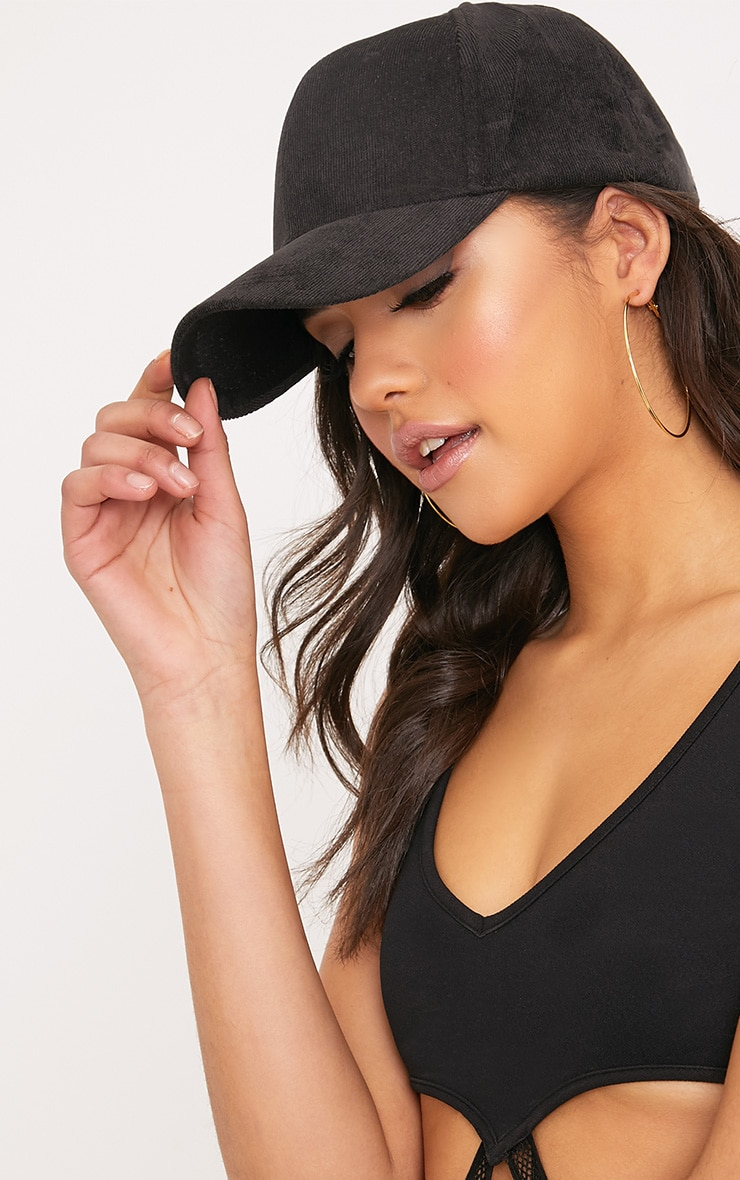 Lea Black Corduroy Cap 2